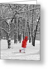 Winter Landscape With Walking Gir In Red. Blac White Concept Gra Greeting Card