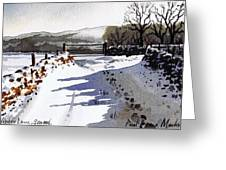 Winter Lane Sowood Greeting Card by Paul Dene Marlor