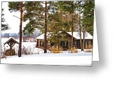 Winter Log Cabin 3 - Paint Greeting Card