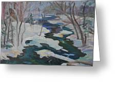 Winter Mill Stream  Greeting Card