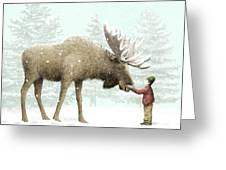 Winter Moose Greeting Card by Eric Fan