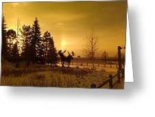 Winter Moose Statue Greeting Card