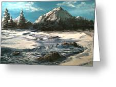 Winter Mountain Stream Greeting Card by Jack Skinner