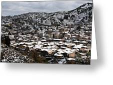 Winter Mountain Village Landscape With Snow Greeting Card