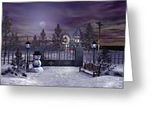 Winter Night Scene Greeting Card