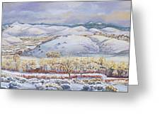 Winter Panorama From The River Mural Greeting Card