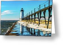 Winter Reflection At Manistee Light Greeting Card