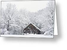Winter Ride Snowy Pond Greeting Card