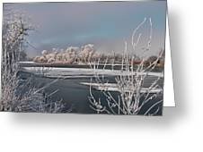 Winter River Light Greeting Card