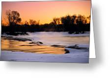 Winter River Sunrise Greeting Card