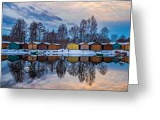 Winter Riverside Reflected Greeting Card by Julis Simo