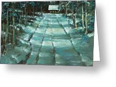 Winter Road In Village Greeting Card