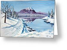 Winter Road Greeting Card by Larry Cole