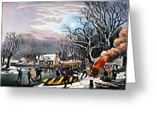 Winter Scene: Evening 1854 Greeting Card