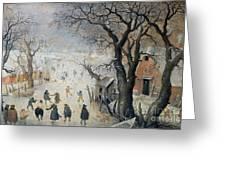 Winter Scene Greeting Card by Hendrik Avercamp