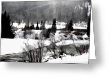 Winter Scene In Black And White Greeting Card