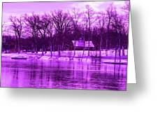 Winter Scene In Violet Greeting Card