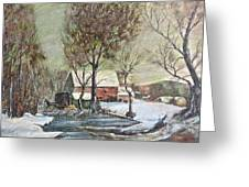 Winter Scene With Horse Greeting Card