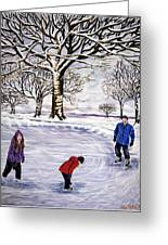 Winter Skating In Quebec Greeting Card