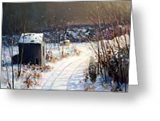 Winter Sleep North On River Road Bucks County Greeting Card