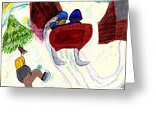Winter Sleigh Ride Through The Tunnel Greeting Card