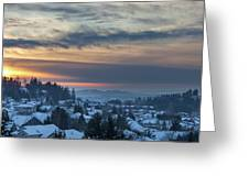 Winter Snow At Sunset In Happy Valley Oregon  Greeting Card