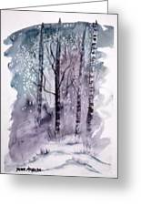 Winter Snow Landscape Painting Print Greeting Card
