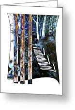 Winter Stairs In Blue Greeting Card