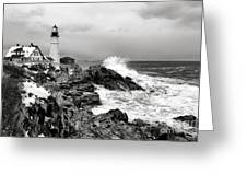 Winter Storm At Portland Head Greeting Card