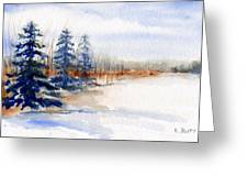 Winter Storm Watercolor Landscape Greeting Card