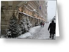 Winter Stroll In Helsinki Greeting Card