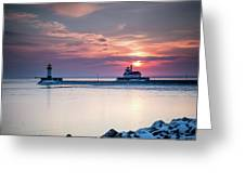 Winter Sunrise Over Canal Park Duluth Mn  Greeting Card