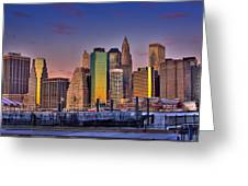 Winter Sunrise Over Downtown Manhattan Greeting Card