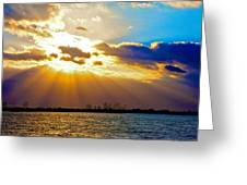 Winter Sunrise Over Miami Beach Greeting Card