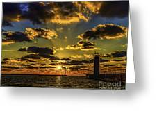 Winter Sunset At Muskegon Channel Light Greeting Card