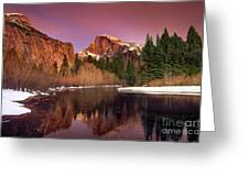 Winter Sunset Lights Up Half Dome Yosemite National Park Greeting Card