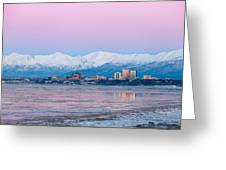 Winter Sunset Over Anchorage, Alaska Greeting Card