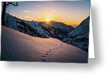 Winter Sunset Over Little Cottonwood Canyon Greeting Card