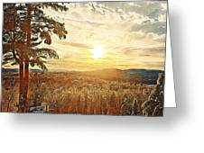 Winter Sunset Over The Mountains Greeting Card