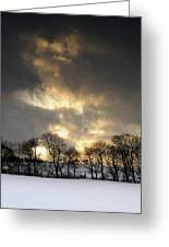Winter Sunset, Trough Of Bowland, England Greeting Card