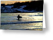 Winter Surfing Greeting Card