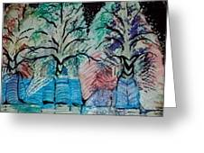 Winter Trees With Hidden  Horns Greeting Card