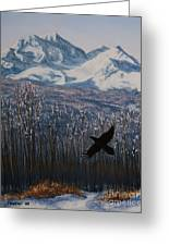 Winter Valley Raven Greeting Card