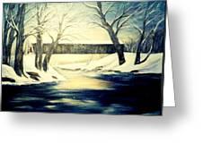 Winter Walk At Bennett's Mill Bridge Greeting Card