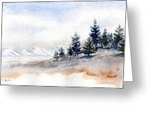 Winter Watercolor Painting Greeting Card