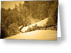 Winter Wonderland In Switzerland - Up The Hills Greeting Card