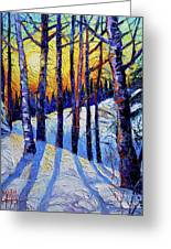 Winter Woodland Sunset Modern Impressionism Palette Knife Oil Painting Greeting Card