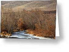 Winter Yakima River With Hills And Orchard Greeting Card