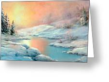 Winter's Sunset Greeting Card