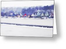 Wintertime At The Fairmount Dam And Boathouse Row Greeting Card